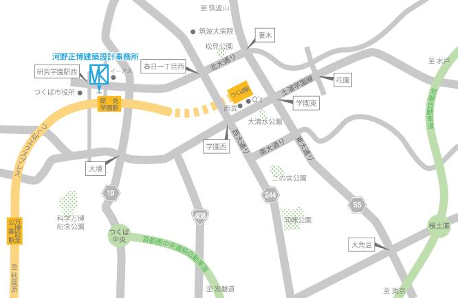 河野正博建築設計事務所の周辺広域図